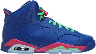 Air Jordan 6 Retro Girls' (GS) Game Royal/Vivid Pink/Lt Lucid Green/White 543390-439 (Size: 6.5Y)
