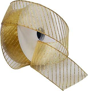 Morex Ribbon Striped Wired Sheer Glitter Organza Ribbon, 2-1/2-Inch by 50-Yard Spool, Multiple Colors, 2.5 Inch x 50 Yard,...