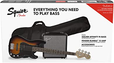 Squier by Fender Affinity Series Precision Bass PJ Beginner Pack, Laurel Fingerboard, Brown Sunburst, with Gig Bag, Rumble...