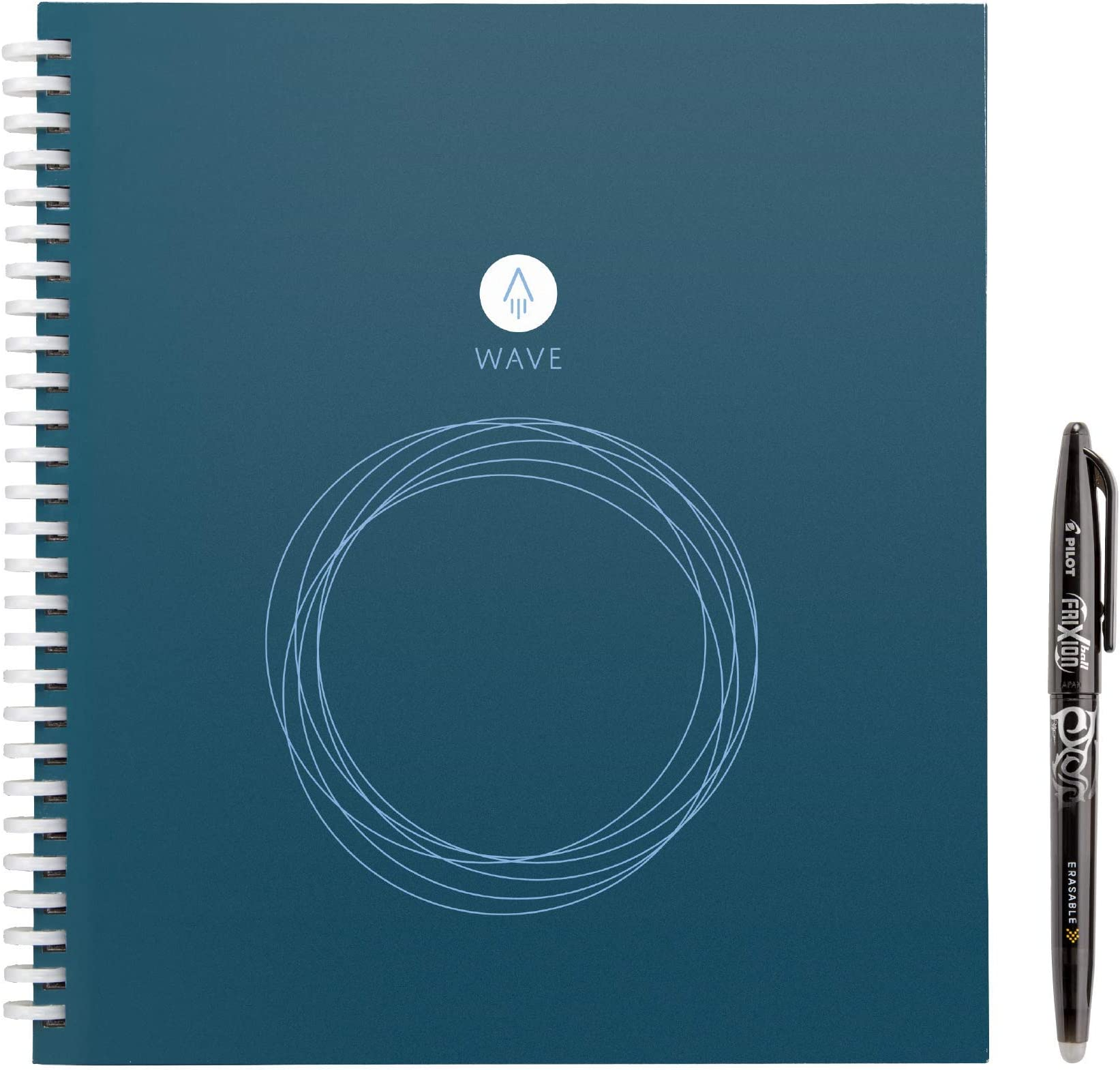 "Rocketbook Wave Smart Notebook - Dotted Grid Eco-Friendly Notebook with 1 Pilot Frixion Pen Included - Standard Size (8.5"" x 9.5""), BLUE (WAV-S)"