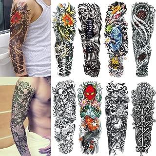 Yesallwas 8 Sheets Full Arm Leg Extra Large Temporary Tattoos, Body Art For Men And Women - Wolf,Tiger,Bear,Warrior,Tribal Symbol (B)