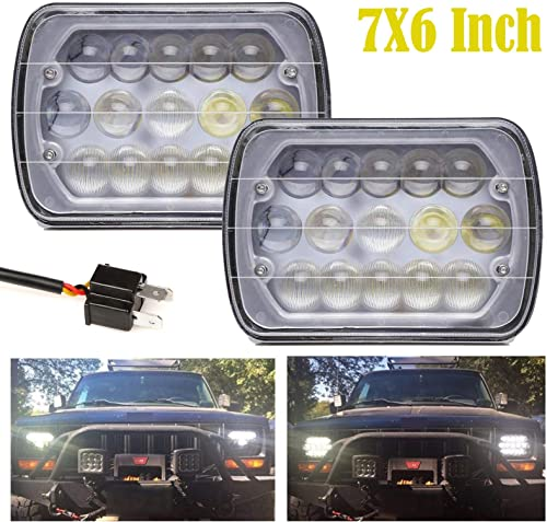"""lowest Pair 7X6"""" discount / 5X7"""" LED Headlight Sealed Beam High Low Beam Rectangular Lights for Jeep Wrangler H6014 H6052 outlet sale H6054 6054 Replacement, 2 Year Warranty online"""