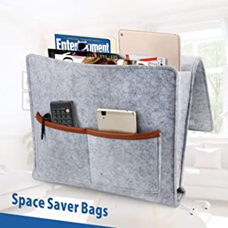 Idefair Bedside Caddy, Large Size 13.5 x 11.8 inch Bed Beside Storage Organizer Sofa Desk Felt Hanging Organizer Bag with Cable Holes and Pockets for Remotes Books Magazine Tablet Phone - Grey
