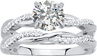 Sterling Silver Round Cubic Zirconia Twisted Vine Bridal Ring Set