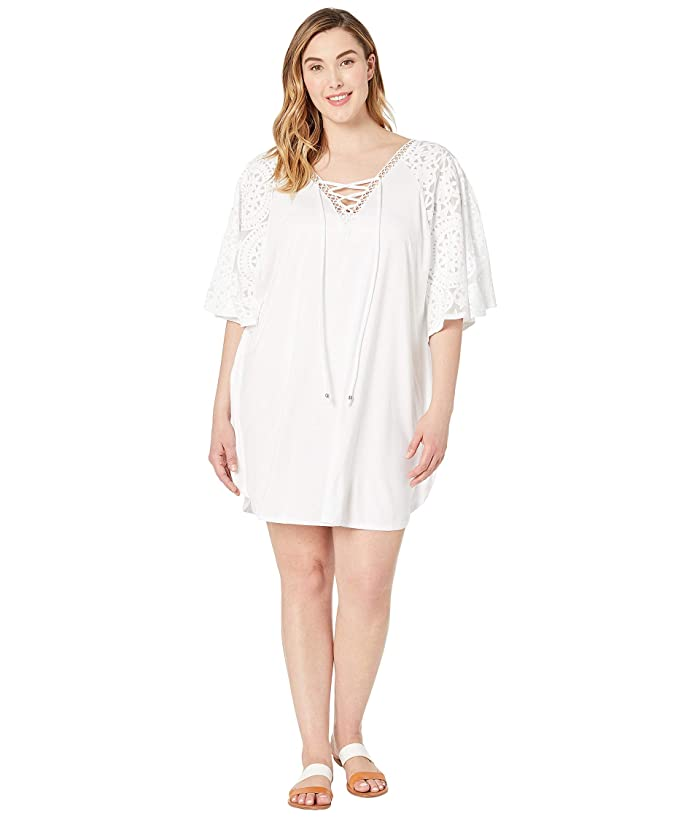 DOTTI Plus Size Marrekesh Medallion Caftan Cover-Up (White) Women