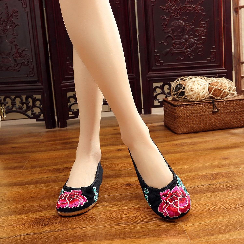 Chnuo Frühling Sommer damen Besteickte schuhe schuhe schuhe aus Gestickte Schuhe Sehnensohle ethnischer Stil weibliche Tuchschuhe Mode bequem lässig innerhalb der Zunahme B07CPRPG2F  Ausgezeichnet 9ff3d7