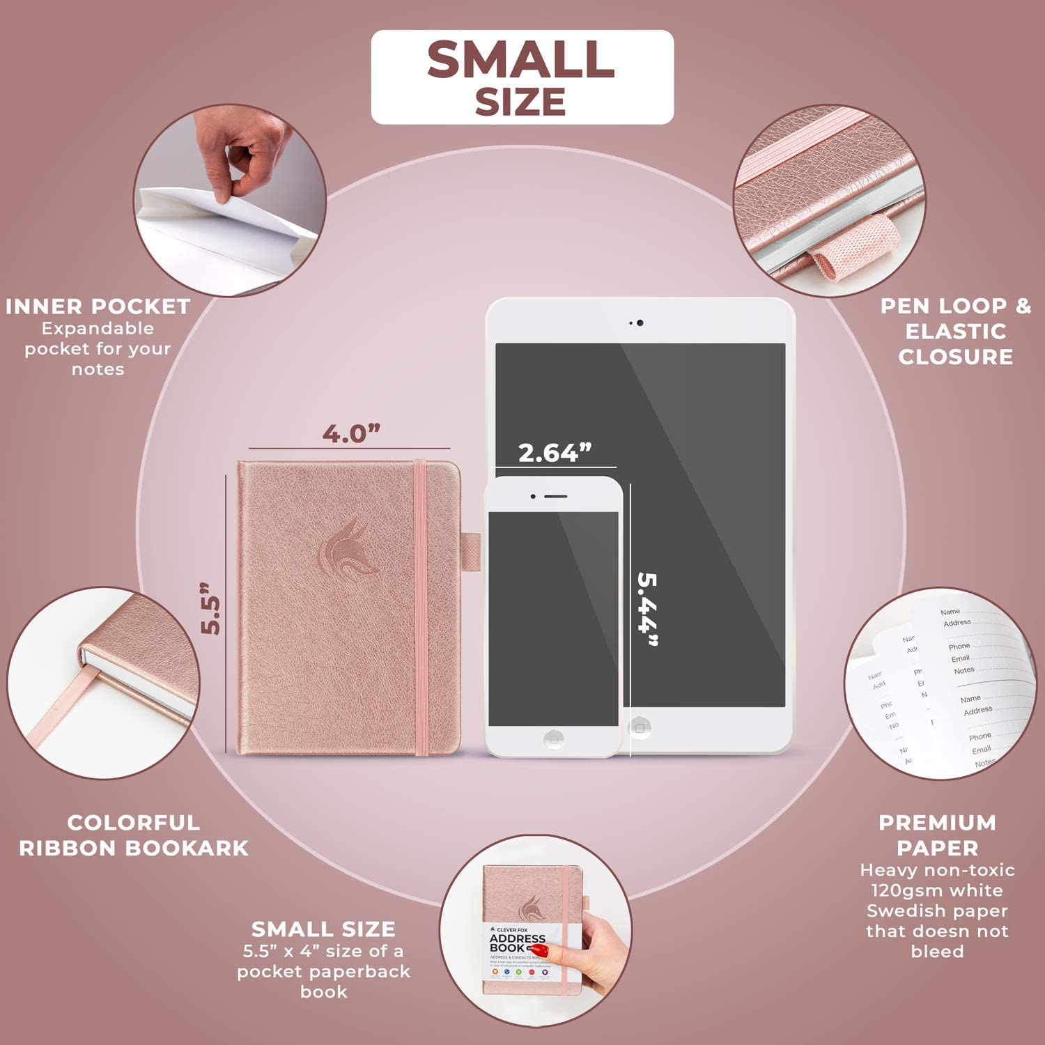 4.0x5.5 Rose Gold PU Leather Telephone and Address Book for Keeping Contacts Safe Hardcover Clever Fox Address Book with alphabetic tabs Contact Organizer Journal Pocket Sized