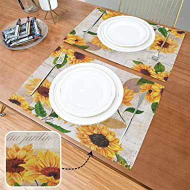 Watercolor Sunflowers Placemats Tables Mats Set of 6 for Kitchen Dining Yellow Flower Double Sided Tablemats Place Mats Farmh