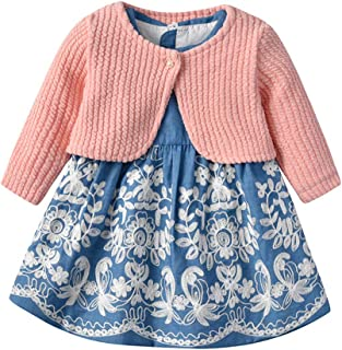 Xifamniy Newborn Girls 2pcs Clothes Set Floral Dress Matching Sweater Autumn Casual Outfit