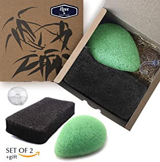 Ilove Konjac Sponge Halloween Set (2 Pack)|100% Natural Cleansing Gentle Exfoliating Facial and Body Konjac Sponges|Green Tea and Bamboo Charcoal|Suction Hook as a Gift