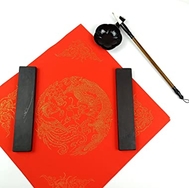 KYMY 1 Pair of Stone Chinese Calligraphy Paperweight,Flat Paperweight,Calligraphy Painting/Writing/Drawing Paperweight,Stone