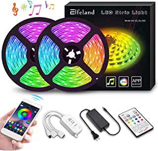 LED Strip Lights, Elfeland 10M 32.8ft 300 LEDs Color Changing Rope Lights 5050 RGB Light Strips with APP Waterproof Tape Lights Sync with Music Apply for Home Kitchen