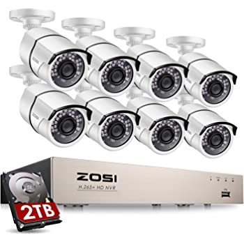 ZOSI Sistema de Vigilancia PoE 1080P CCTV Kit de Cámara PoE 8CH 2MP Grabador PoE + (8) Cámara PoE Impermeable + 2TB Disco Duro, Visión Nocturna, Detección de Movimiento, Acceso Remoto