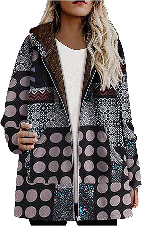 Women Sherpa Jacket Casual Winter Warm Coat Thicken Fleece Lined Print Hooded Sweatshirt Full Zip Up Hoodie with Pockets