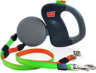 WIGZI - Authentic - USA Patented - Dual Doggie Reflective Retractable Pet Leash – 360 Zero Tangle Design - Two Dogs Each up to 50 lbs - Warranty