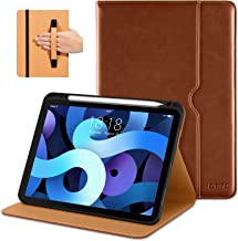 DTTO Compatible with iPad Air 4 Case, Premium Leather Business Folio Stand Cover with Built-in Apple Pencil Holder - Multi...