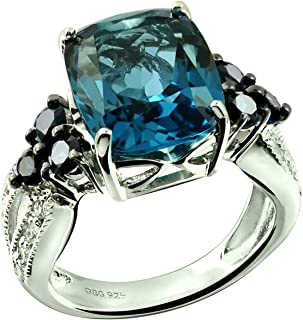 Sterling Silver 925 Ring Genuine London Blue Topaz and Blue Sapphire 7.62 Cts with Rhodium-Plated Finish
