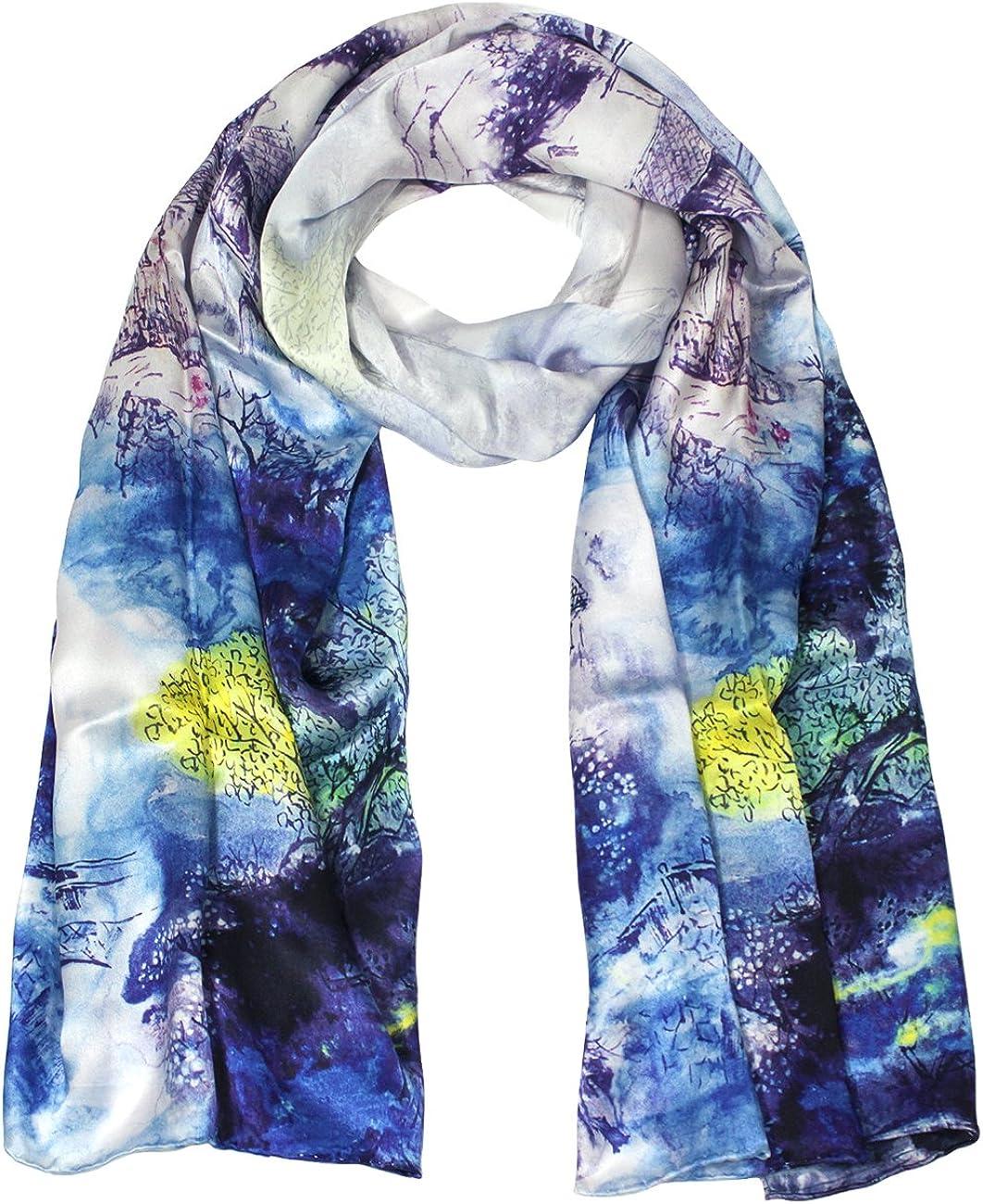 Dahlia Women's 100% Luxury Long Charmeuse Silk Scarf - Flower Village Painting