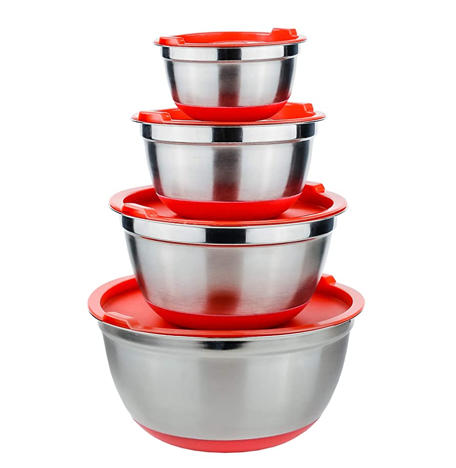 Galashield Stainless Steel Mixing Bowls with Lids and Non-Slip Rubber Bottom Set of 4 (.75 qt, 1.5 qt, 3 qt, 5 qt)