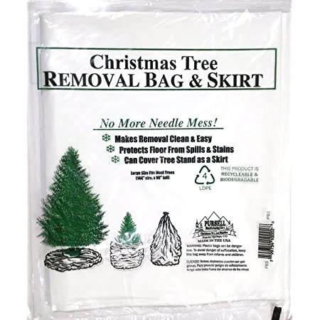 "Heavy Duty Christmas Tree Disposal Bag - Strong Christmas Tree Storage Bag - Christmas Tree Bags Removal - Disposable Xmas Tree Removal Bag - Bolsa Para Arbol de Navidad - 144"" Circumference 90"" Tall (3-COUNT)"