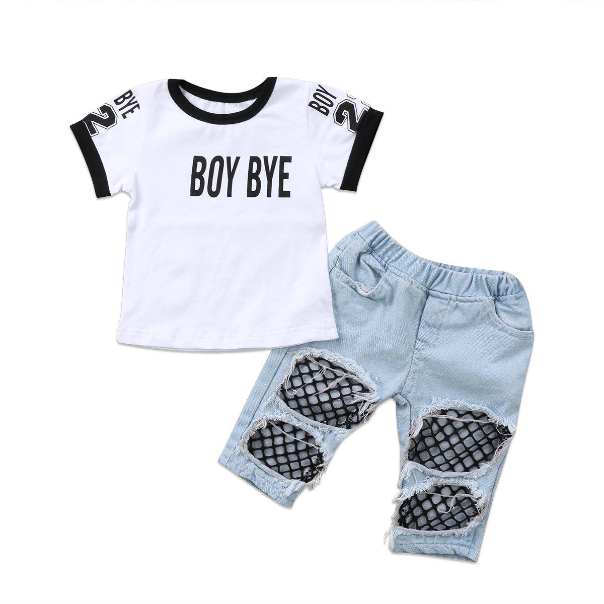 Lefyira 2PCS Baby Girl Off Shoulder Tube Top Shirt+Ruffle Floral Pants Casual Clothing