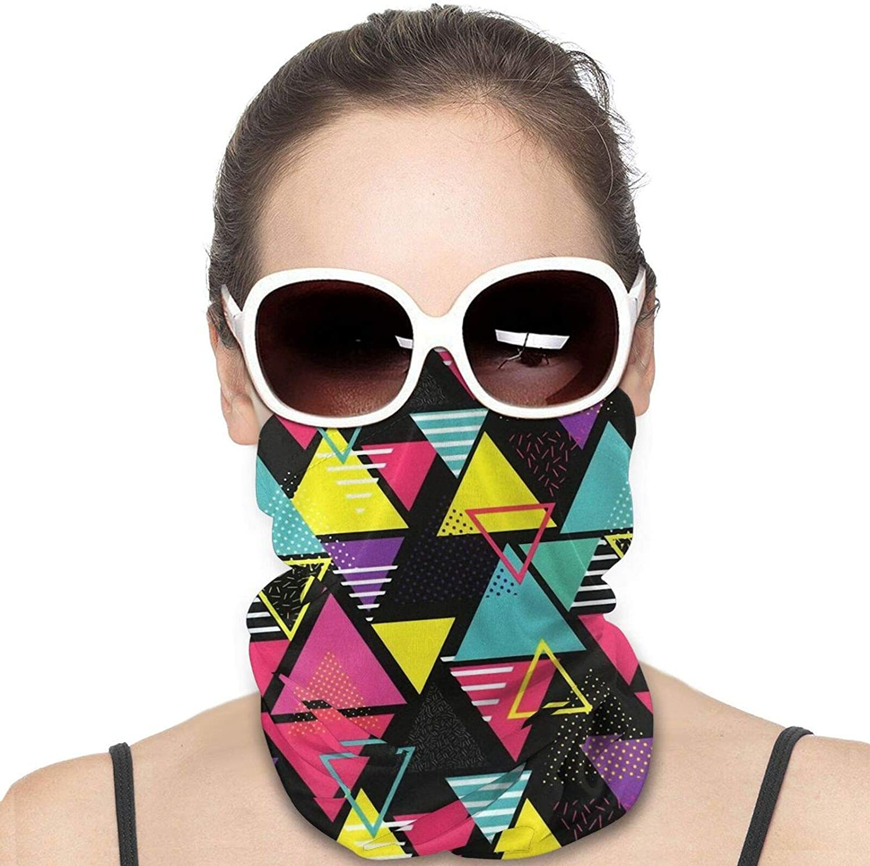 Geometric in Retro 80s Style Neck Gaiter Windproof Face Cover Balaclava Outdoors Magic Scarf Headband for Men Women Motorcycling Fishing Running Climbing
