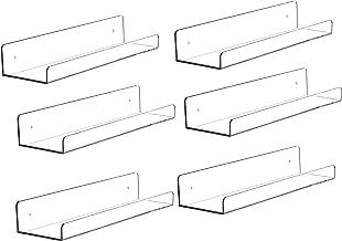 "Cq acrylic 15"" Acrylic Floating Wall Ledge Shelf,Floating Book Shelves for Kids Room,Clear Bathroom Shelves,Great for Livi..."