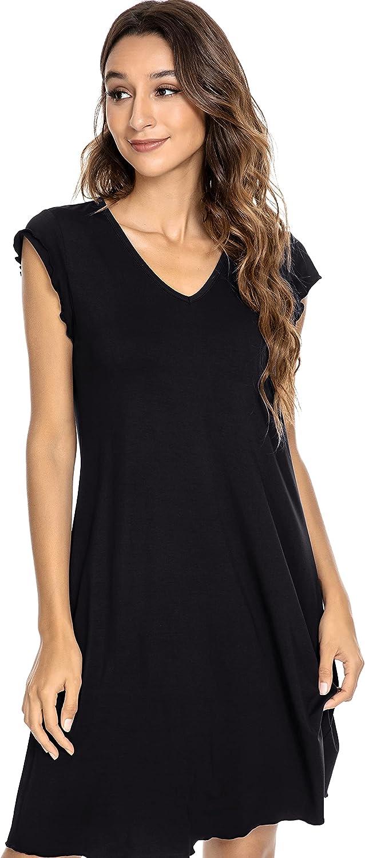 YOSOFT Nightgowns for Women Short Sleeve Sleepwear Soft Bamboo Pajamas Sleep Shirt Plus Size Loungewear S-4X