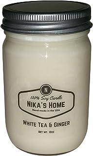 Nika's Home White Tea & Ginger Soy Candle - 12oz Mason Jar