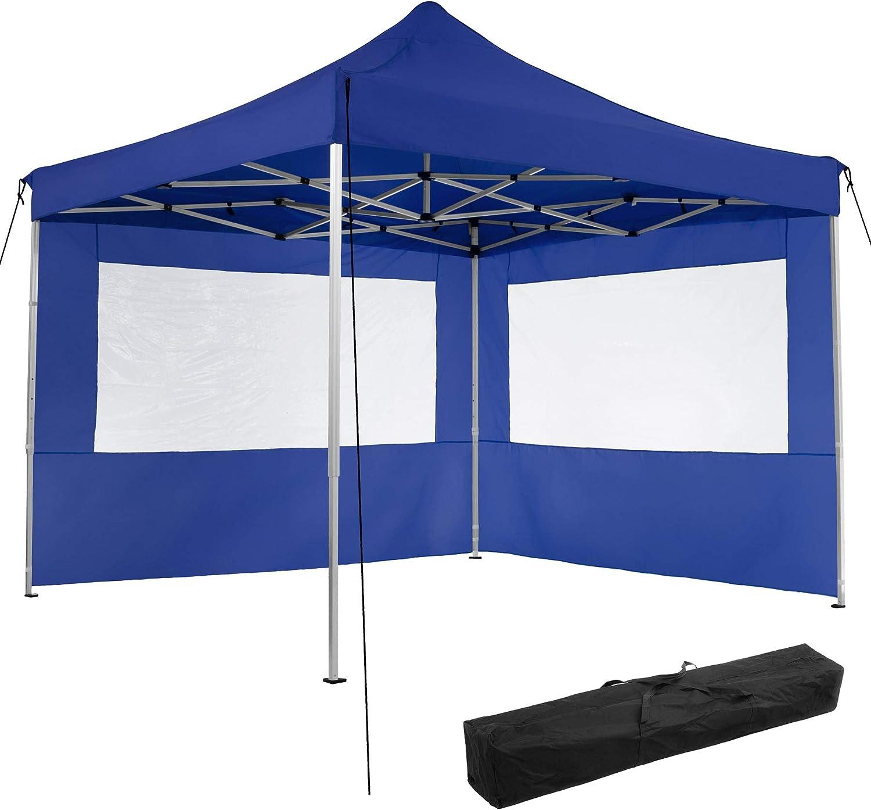 TecTake 800685 Aluminium Faltpavillon 3 x 3 m, klappbar, 100% WASSERDICHT, hhenverstellbar, mit 2 Seitenwnden, inkl. Spannseile, Heringe und Tasche – Diverse Farben - (Blau  Nr. 403150)