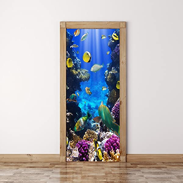 RoyalWallSkins 门口壁画墙贴纸珊瑚鱼水下无泡版半光面自粘剥离贴门套 36X80