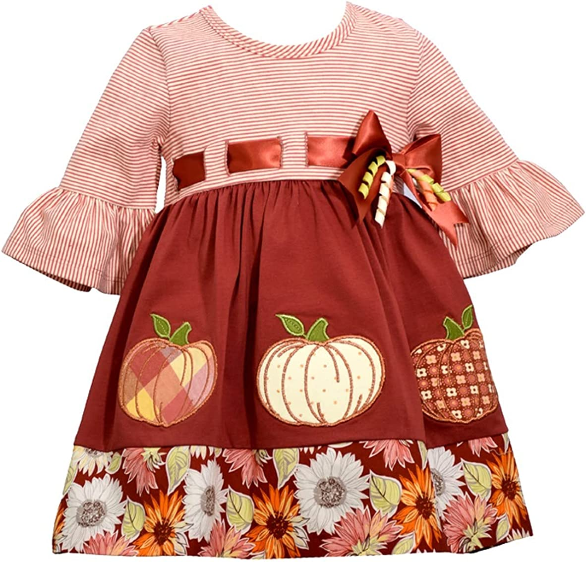Bonnie Jean Girl's Thanksgiving Outfit - Pumpkin Coral Omaha Mall Legg Luxury Pink