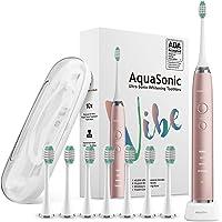 AquaSonic Vibe Series Ultra Whitening Toothbrush w/8 Brush Heads & Case