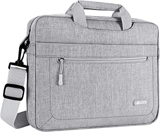 MOSISO Laptop Briefcase Shoulder Bag Compatible with 13-13 3 inch MacBook Pro  MacBook Air  Notebook Computer with Adjustable Depth Bottom  Polyester Messenger Carrying Handbag Sleeve  Light Gray