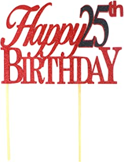 All About Details Happy Cake, 1pc, 25th Birthday, Party Decor, Glitter Topper (Red & Black), 6 x 8