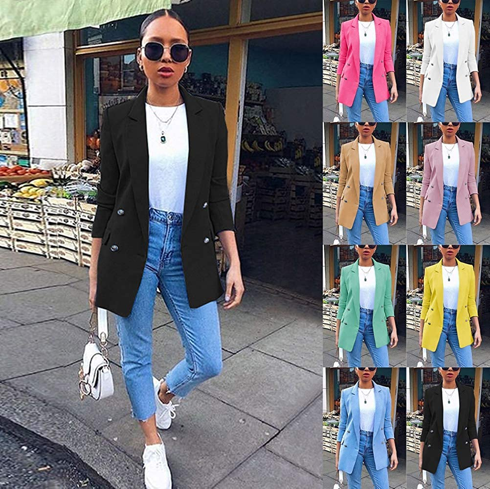 ORANDESIGNE Damen Blazer Elegant Langarm Sakko Einfarbig Slim Fit Revers Geschäft Büro Jacke Mantel Anzüge Bolero Anzugjacke A Grün