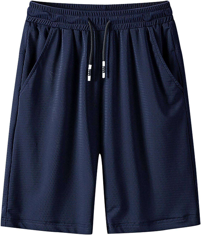 Angbater Mens Casual Mesh Shorts Sport WorkoutLoose Drawstring Short Pants Black Shorts