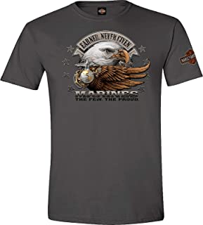 Military - Men's Charcoal Graphic T-Shirt - Overseas Tour | Marine Eagle