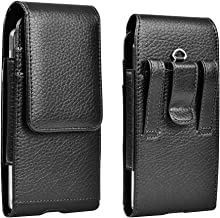 EBIZCITY Cell Phone Holster Pouch Leather Wallet Case with Belt Loop for iPhone Samsung (Leather)