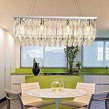 LED Rectangular Crystal Restaurant Chandelier European Dining Chandelier Creative Crystal Light Stainless Steel Light Pane...
