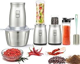 غذاساز ، 3 در 1 مجموعه غذاساز برقی 7 عدد دستگاه خردکن شخصی مخلوط کن شخصی 2 لیتر آشپزخانه فولاد ضد زنگ چرخ گوشت برقی با 2 پره و 4 تیغه دو سطح برای گوشت ، سبزیجات ، میوه ها و آجیل ها