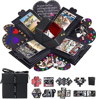 AIOR Explosion Box noire Proposition d'anniversaire de Noël Saint Valentin DIY Album photo pliant fait à la main Scrapbook...