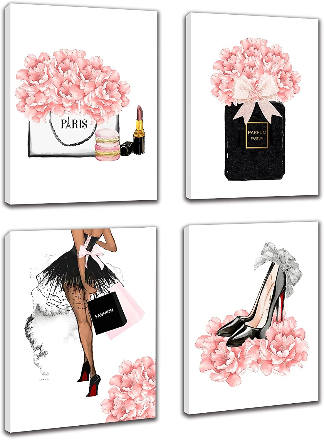 Makeup Room Framed Canvas Wall Art, Fashion Women Picture Arts, Perfume Handbags High Heels Lipstick Wall Paintings, Pink Gift for Girls Room Boudoir Decor Ready to Hang Set of 4, 8
