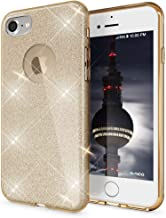 NALIA Glitter Case Compatible with iPhone 7, Ultra-Thin Mobile Sparkle Silicone Back Cover, Protective Slim-Fit Shiny Protector Skin Etui, Shock-Proof Crystal Gel Bling Smart-Phone Bumper - Gold