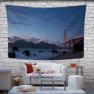 Hitecera Golden Gate Bridge at Dusk Wall Hanging,Marshalls Beach Bedding Taokjeffry,78.7''W x 59.1''H