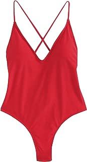 SweatyRocks Women's Sexy Bathing Suits Solid Color Criss Cross Open Back One Piece Swimwear