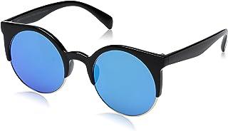 Foster Grant Women's Mg.6 Mir Round Sunglasses, Shiny Black/Smoke with Blue revo, 50 mm