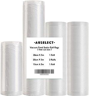 Vacuum Food Sealer Roll Bags 4Set 1Pack 28CMx5M 2Pack 10CMx5M 1Pack 15x5M AUSELECT Saver Seal Storage Heat Commercial Grad...