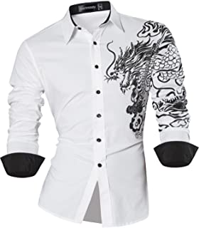Sportrendy Uomo Camicie Unico Drago Cinese Tatuaggio Moda Tattoo Slim Shirts Men Top JZS041