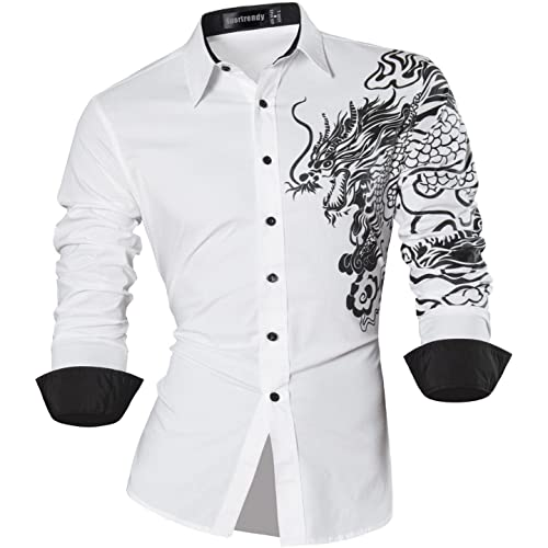 d85254dfba93 Sportrendy Men Casual Slim Dragon Tattoo Long Sleeve Button Down Dress Shirt  JZS041